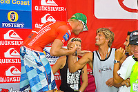 Mick Fanning (AUS) with Bruce Irons (HAW). Fanning won the Quiksilver Pro Gold Coast 2005 defeating Chris Ward (USA) in the final held at Snapper Rocks, Coolangatta, Queensland, Australia. Photo: joliphotos.com
