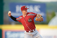 Altoona Curve shortstop Kevin Newman (2) throws to first base while warming up in between innings during a game against the Binghamton Rumble Ponies on May 17, 2017 at NYSEG Stadium in Binghamton, New York.  Altoona defeated Binghamton 8-6.  (Mike Janes/Four Seam Images)