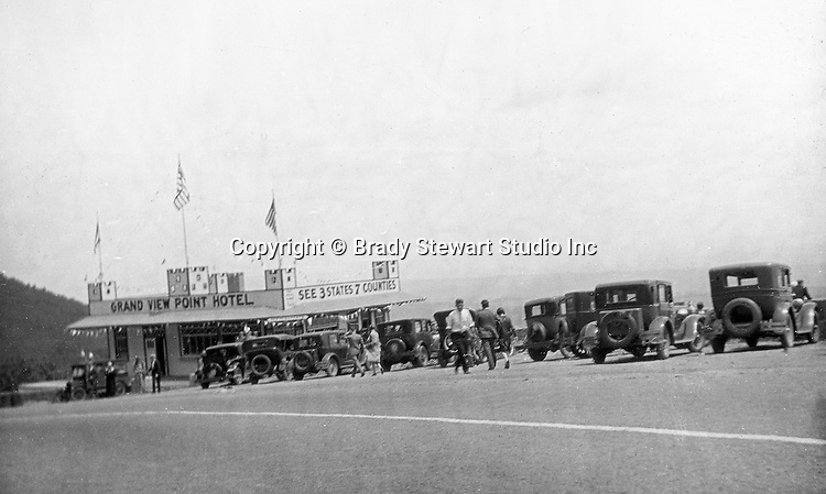 Bedford PA: View of the Grand View Point Hotel on the Lincoln Highway (Rt 30) - 1928.  Also know as the Ship of the Alleghenies was built in 1927 and burned down in 2001.