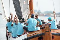 ZEILEN: SNEEK: Snitser Mar, 01-08-2014, SKS skûtsjesilen, finalewedstrijd, skûtsje Akkrum, schipper Pieter Meeter, ©foto Martin de Jong