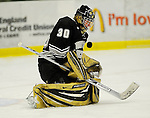 29 December 2007: Western Michigan University Broncos' goaltender Riley Gill, a Sophomore from Northfield, MN, warms up prior to a game against the Quinnipiac University Bobcats at Gutterson Fieldhouse in Burlington, Vermont. The Bobcats defeated the Broncos 2-1 in the first game of the Sheraton/TD Banknorth Catamount Cup Tournament...Mandatory Photo Credit: Ed Wolfstein Photo