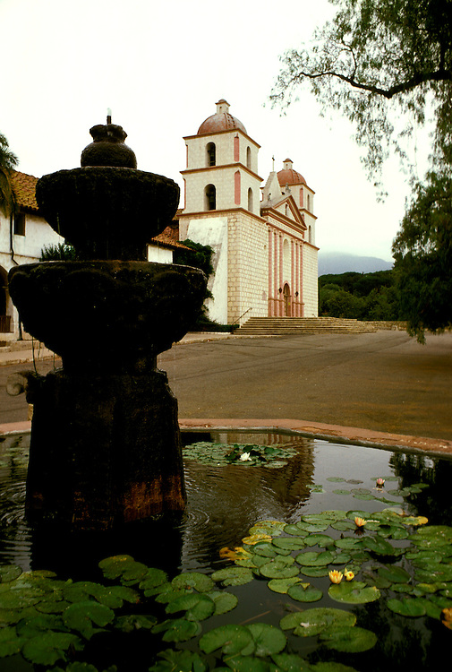 California: Santa Barbara. Mission Santa Barbara.  Photo #: casbar102.  Photo copyright Lee Foster, 510/549-2202, lee@fostertravel.com, www.fostertravel.com