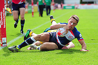 Samuel Pointon of Great Britain runs in a try in the second half. FISU World University Championship Rugby Sevens Men's Cup Final between Australia and Great Britain on July 9, 2016 at the Swansea University International Sports Village in Swansea, Wales. Photo by: Patrick Khachfe / Onside Images