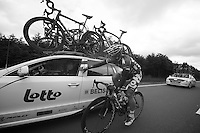 Andr&eacute; Greipel (DEU) checking in with DS Bart Leysen<br /> <br /> 2013 Ster ZLM Tour <br /> stage 4: Verviers - La Gileppe (186km)