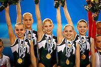 Portrait of Russian juniors winning gold at European Championships Artistic Gymnastics at Volos, Greece on April 28, 2006.<br />