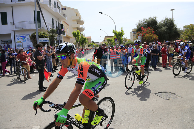 Bardiani CSF at sign on before Stage 1 of the 100th edition of the Giro d'Italia 2017, running 206km from Alghero to Olbia, Sardinia, Italy. 4th May 2017.<br /> Picture: Ann Clarke | Cyclefile<br /> <br /> <br /> All photos usage must carry mandatory copyright credit (&copy; Cyclefile | Ann Clarke)