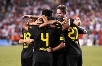 FC Barcelona midfielder Thiago Alcantara (4) celebrates his score with team mates. Manchester United defeated Barcelona FC 2-1 at FedEx Field in Landover, MD Saturday July 30, 2011.