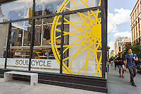 A branch of the widely popular SoulCycle exercise studio in the Noho neighborhood of New York on Friday, July 31, 2015. SoulCycle, the chain of indoor cycling exercise clubs, filed for an initial public offering hoping to raise up to $100 million. (© Richard B. Levine)