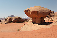 Mushroom shaped rock formation, Wadi Rum Protected Area (WRPA), Wadi Rum National Park, also known as The Valley of the Moon, 74,000-hectare, UNESCO World Heritage Site, desert landscape, southern Jordan, Middle East. Picture by Manuel Cohen