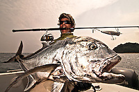 The Giant Trevally (Caranx ignobilis) is a very much sought after gamefish because of its strenght and spectacular strikes
