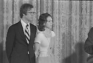 Washington DC  - Nixon resigned the presidency on August 9, 1973  saying farewell to his Cabinet and White House staff with his family by his side (left to right David and Julie Eisenhower)- A break in at the Democratic National Committee headquarters at the Watergate complex on June 17, 1972 results in one of the biggest political scandals the US government has ever seen.  Effects of the scandal ultimately led to the resignation of  President Richard Nixon, on August 9, 1974, the first and only resignation of any U.S. President.