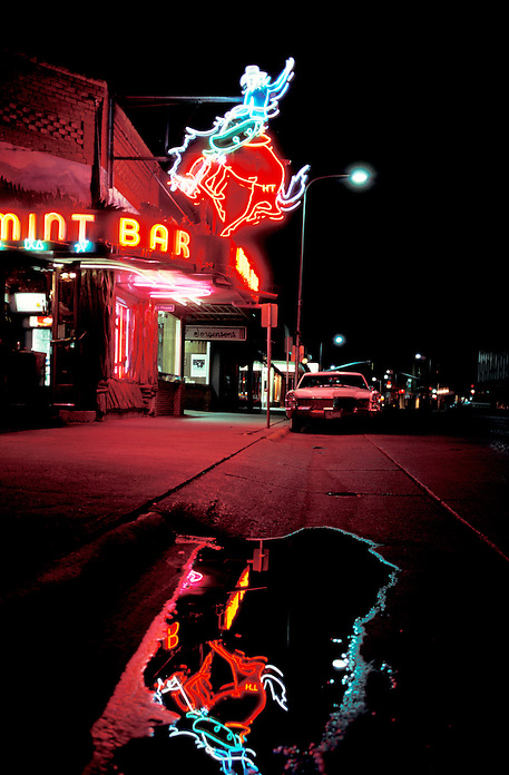 Neon lights of Mint Bar, Nightlife, Sheridan, Wyoming, USA