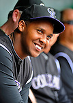 10 July 2011: Colorado Rockies pitcher Juan Nicasio sits in the dugout prior to facing the Washington Nationals at Nationals Park in Washington, District of Columbia. The Nationals shut out the visiting Rockies 2-0 salvaging the last game their 3-game series at home prior to the All-Star break. Mandatory Credit: Ed Wolfstein Photo