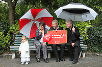 """NO REPRO FEE. World Alzheimer Day launch. 2 year old Ava O Donnell, RTE presenter Micheál O'Muircheartaigh, Minister for Older People Aine Brady T.D.and Fair City's Bryan Murray are pictured in Merrion Square Dublin to discuss a landmark report entitled """"Dementia: It's time for action!"""" to mark  World Alzheimer's Day 21 September. Picture James Horan /Collins Photos"""