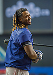 1 April 2016: Boston Red Sox infielder Hanley Ramirez awaits his turn in the batting cage prior to a pre-season exhibition game against the Toronto Blue Jays at Olympic Stadium in Montreal, Quebec, Canada. The Red Sox defeated the Blue Jays 4-2 in the first of two MLB weekend exhibition games, which saw an attendance of 52,682 at the former home on the Montreal Expos. Mandatory Credit: Ed Wolfstein Photo *** RAW (NEF) Image File Available ***