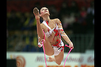 """Evgenia Kanaeva of Russia split leaps with rope at 2008 World Cup Kiev, """"Deriugina Cup"""" in Kiev, Ukraine on March 22, 2008."""