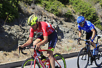 The breakaway group including Eugert Zhupa (ALB) Wilier Triestina-Selle Italia and Ivan Rovny (RUS) Gazprom-Rusvelo pass the stunning coastline at Villasimius during Stage 3 of the 100th edition of the Giro d'Italia 2017, running 148km from Tortoli to Cagliari, Sardinia, Italy. 7th May 2017.<br /> Picture: Eoin Clarke | Cyclefile<br /> <br /> <br /> All photos usage must carry mandatory copyright credit (&copy; Cyclefile | Eoin Clarke)