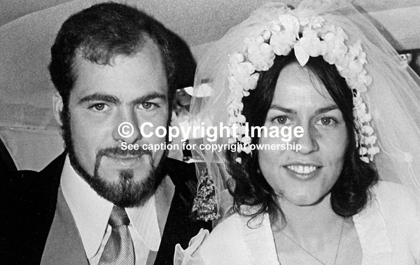 James Auld, one of 4 ex-detainees awarded a combined total of &pound;51K damages. He was detained by British troops on 9th August 1971 with the introduction of Internment in N Ireland. He is photographed with his wife on their wedding day.197412100708b<br /> <br /> Copyright Image from Victor Patterson, 54 Dorchester Park, Belfast, UK, BT9 6RJ<br /> <br /> t1: +44 28 9066 1296<br /> t2: +44 28 9002 2446<br /> m: +44 7802 353836<br /> <br /> e1: victorpatterson@me.com<br /> e2: victorpatterson@gmail.com<br /> <br /> IMPORTANT: My Terms and Conditions of Business are at www.victorpatterson.com