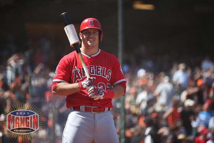 SAN FRANCISCO, CA - MAY 2:  Mike Trout #27 of the Los Angeles Angels smiles in the on deck circle during the game against the San Francisco Giants at AT&T Park on Saturday, May 2, 2015 in San Francisco, California. Photo by Brad Mangin