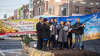 Members of the Nepali Punjabi Church at their outreach event in Jackson Heights in the New York borough of Queens on Saturday, December 21, 2013. The congregation of the church is primarily Christian Nepalese. (© Richard B. Levine)