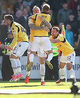 Bolton Wanderers' David Wheater celebrates scoring the opening goal with (left to right) team-mates Adam Le Fondre, Josh Vela and Filipe Morais<br /> <br /> Photographer Stephen White/CameraSport<br /> <br /> The EFL Sky Bet League One - Port Vale v Bolton Wanderers  - Saturday 22nd April 2017 - Vale Park - Burslem<br /> <br /> World Copyright &copy; 2017 CameraSport. All rights reserved. 43 Linden Ave. Countesthorpe. Leicester. England. LE8 5PG - Tel: +44 (0) 116 277 4147 - admin@camerasport.com - www.camerasport.com