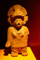 Mayan ceramic figurine on display in the Museo Regional Potosino, San Luis de Potosi, Mexico