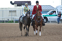 HOT SPRINGS, AR - April 15: Classic Empire #2 and jockey Julien Leparoux are escorted back to the winners' circle after winning the Arkansas Derby at Oaklawn Park on April 15, 2017 in Hot Springs, AR. (Photo by Ciara Bowen/Eclipse Sportswire/Getty Images)
