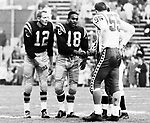 Jackie Parker and Rollie Miles of the Edmonton Eskimos during the coin toss at the 1960 Grey Cup Game against the Ottawa Rough Riders. Photo Ted Grant