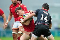 Reuben Morgan-Williams of Wales U20 is tackled. World Rugby U20 Championship match between Wales U20 and Georgia U20 on June 11, 2016 at the Manchester City Academy Stadium in Manchester, England. Photo by: Patrick Khachfe / Onside Images