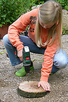 Mädchen flechtet, flicht aus Weidenzweigen einen Korb im Garten, Weide, Weiden, Basteln, Bastelei, Weidenkorb. 1. Schritt: mit einer Bohrmaschine wird ein Ring von Löchern an den Rand einer Holzscheibe gebohrt