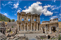 The ruins of Ephesus are an amazing sight. In this image from Turkey, the classis columns of an ancient library stand in the summer heat.