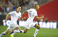 Phoenix, AZ - Saturday, January 21, 2012: Ricardo Clark celebrates his goal as the USA Men's national team defeats Venezuela 1-0, at the University of Phoenix Stadium.