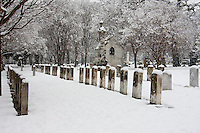 Snow covered gravestones in Greenwood Cemetery in Dallas, Texas during a rare winter snowfall in February 2010.