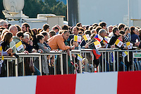 Czech catholic followers wait for the arrival of the Pope Benedict XVI at the Prague Airport, Czech Republic, 26 September 2009.