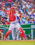 26 July 2013: Washington Nationals catcher Wilson Ramos in action against the New York Mets at Nationals Park in Washington, DC. The Nationals bounced back from their loss in the first game of their day/night doubleheader, with a 2-1 nightcap win. Mandatory Credit: Ed Wolfstein Photo *** RAW (NEF) Image File Available ***
