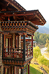 Asia, Bhutan, Paro. Balcony of a Zhiwa Ling hotel. room