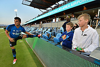 San Jose, CA - Friday April 14, 2017: Nick Lima, fans  prior to a Major League Soccer (MLS) match between the San Jose Earthquakes and FC Dallas at Avaya Stadium.