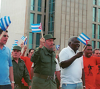 The Cuban Presiden Fidel Castro, march by the Avenue of the Malecon, front of the Interests Section of the United States, 2005. Cuba was removed from the U.S. black list of nations that support international terrorism, clearing away an obstacle for resumption of diplomatic relations between the two countries. . Credit: Jorge Rey/MediaPunch