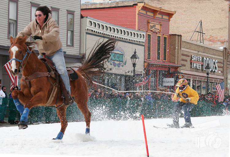 The famous skijoring event held in Leadville, CO involves skijor races where the skiier is pulled by horses.