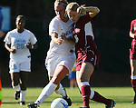 North Carolina's Whitney Engen (l) and Texas A&M's Emily Peterson (16) challenge for the ball on Saturday, November 25th, 2006 at Fetzer Field in Chapel Hill, North Carolina. The University of North Carolina Tarheels defeated the Texas A&M Aggies 3-2 in an NCAA Division I Women's Soccer Championship quarterfinal game.