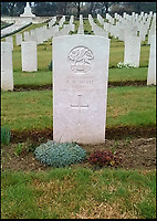 BNPS.co.uk (01202 558833)<br /> Pic: CWGC/BNPS<br /> <br /> The grave of Pte Thomas White at Ancona Military Cemetery.<br /> <br /> Three 'lost' British soldiers who were executed by the Nazis in a shocking war crime have been found 72 years later.<br /> <br /> The tragic trio - Private Lionel Brown, Pte Daniel Hollingsworth and Pte Thomas White - were murdered when they were being transported to a prisoner of war camp in Italy in 1944.<br /> <br /> The truck suddenly stopped by a bridge and the three prisoners and an Italian spy were shot by SS troops.<br /> <br /> They were later buried at the Ancona Military Cemetery in unmarked graves. Research has now identified the men's final resting place.