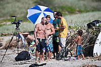 SHANE DORIAN (HAW), MARK OCCHILUPO (AUS), NEAL PURCHASE JR (AUS), GREG BROWNING (USA)  and  JAY OCCHILUPO (AUS) Surfing at DURANBAH BEACH, Australia ,   Photo: joliphotos.com