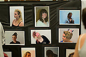 Display of photos of students' work at the annual X-Foto competition in the Hair & Beauty Department at Kingston College, London.