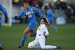 04 December 2009: Stanford's Allison McCann (22) and UCLA's Kristina Larsen (20). The Stanford University Cardinal defeated the University of California Los Angeles Bruins 2-1 in sudden victory overtime at the Aggie Soccer Complex in College Station, Texas in an NCAA Division I Women's College Cup Semifinal game.