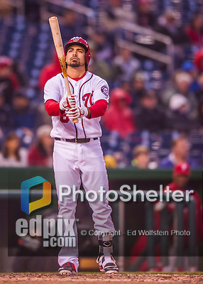 28 April 2016: Washington Nationals infielder Anthony Rendon pinch hits in the 8th inning against the Philadelphia Phillies at Nationals Park in Washington, DC. The Phillies shut out the Nationals 3-0 to sweep their mid-week, 3-game series. Mandatory Credit: Ed Wolfstein Photo *** RAW (NEF) Image File Available ***