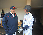 Former Rebels Don Kessinger (left) and Chris Coghlan talk at Ole Miss baseball alumni game at Oxford-University Stadium in Oxford, Miss. on Saturday, February 5, 2011.