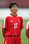 09 August 2008: Kim Yong Ae (PRK).  The women's Olympic soccer team of Brazil defeated the women's Olympic soccer team of North Korea 2-1 at Shenyang Olympic Sports Center Wulihe Stadium in Shenyang, China in a Group F round-robin match in the Women's Olympic Football competition.