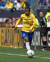 Brazilian forward Grazielle (16) dribbles down the wing. In an international friendly, Canada defeated Brasil, 2-1, at Gillette Stadium on March 24, 2012.