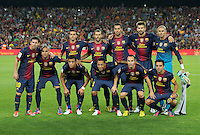 FUSSBALL  INTERNATIONAL  PRIMERA DIVISION  SAISON 2011/2012   23.08.2012 El Clasico  Super Cup 2012 FC Barcelona - Real Madrid  Mannschaftsbild Barca; Pedro Rodriguez, Javier Mascherano, Sergio Busquets, Gerard Pique, Torwart Victor Valdes (hinten v.li.) Lionel Messi, Daniel Alves, Alexis Sanchez, Adriano, Andres Iniesta und Xavi Hernandez (vorn v.li.)