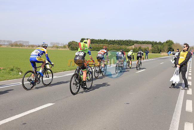 The breakaway group including Ryan Mullen (IRL) Cannondale-Drapac pass through the first feed zone at Steenkerke during Gent-Wevelgem in Flanders Fields 2017 running 249km from Denieze to Wevelgem, Flanders, Belgium. 26th March 2017.<br /> Picture: Eoin Clarke | Cyclefile<br /> <br /> <br /> All photos usage must carry mandatory copyright credit (&copy; Cyclefile | Eoin Clarke)
